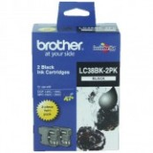 Brother LC-38BK2PK Black Genuine Original Printer Ink Cartridge Twin Pack