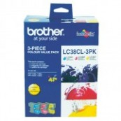 Brother LC-38CL3PK Colour Cyan + Magenta + Yellow Genuine Original Printer Ink Cartridge Value Pack 3X