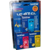 Brother LC-47CL3PK Colour Cyan + Magenta + Yellow Genuine Original Printer Ink Cartridge Value Pack 3X