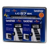 Brother LC-57BK2PK Black Genuine Original Printer Ink Cartridge Twin Pack