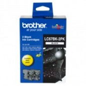 Brother LC-67BK2PK Black Genuine Original Printer Ink Cartridge Twin Pack