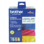 Brother LC-67CL3PK Colour Cyan + Magenta + Yellow Genuine Original Printer Ink Cartridge Value Pack 3X
