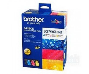 Brother LC-67HYCL3PK Colour Cyan + Magenta + Yellow Genuine Original Printer Ink Cartridge Value Pack 3X