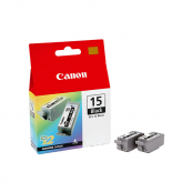 Canon BCI-15BK (8190A004AA) Black Ink (5.3ml x 2) Genuine Original Printer Ink Cartridge