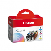 Canon CLI-8 (0621B032AA) Cyan + Magenta + Yellow (13ml) Genuine Original Printer Ink Cartridge Series Value Pack 3X