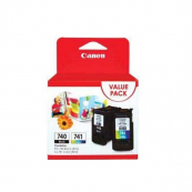 Canon PG-740 + CL-741 (5201B006AA) Black (8ml) + Colour (8ml) Genuine Original Printer Ink Cartridge Value Pack