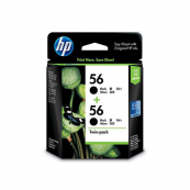 HP CC620AA 56 Black Genuine Original Printer Ink Cartridge Twin Pack