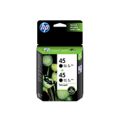 HP CC625AA 45 Black Genuine Original Printer Ink Cartridge Twin Pack