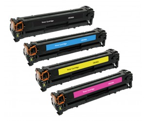 TonerGreen 125A CB540A Black + CB541A Cyan + CB542A Yellow + CB543A Magenta Compatible Printer Toner Cartridge CMYK Full Pack 4X
