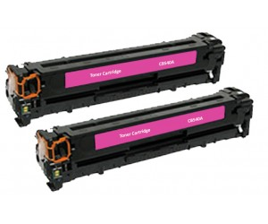 TonerGreen CB543A 125A Magenta Compatible Printer Toner Cartridge Value Pack 2X