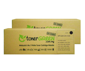 TonerGreen Q2612A 12A Black Compatible Printer Toner Cartridge Value Pack 2X