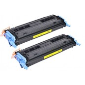 TonerGreen Q6002A 124A Yellow Compatible Printer Toner Cartridge Value Pack 2X